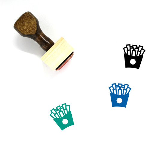 French Fries Wooden Rubber Stamp No. 68
