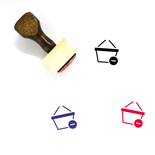 Shopping Basket Wooden Rubber Stamp No. 108
