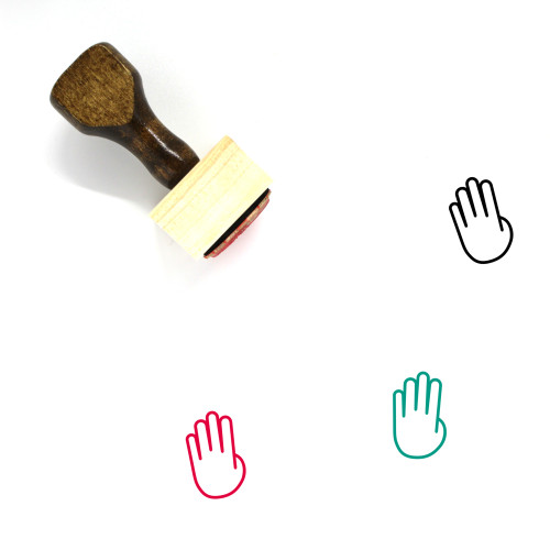 Four Fingers Wooden Rubber Stamp No. 9