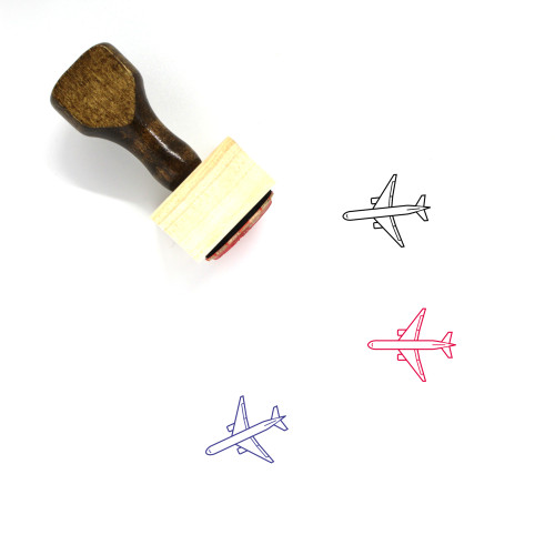 Airplane Wooden Rubber Stamp No. 363