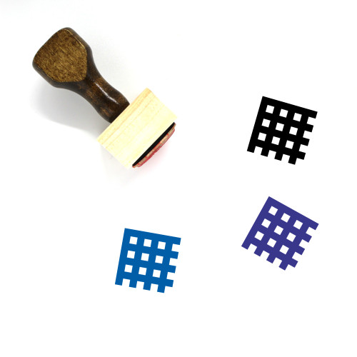 Open Grid Wooden Rubber Stamp No. 1