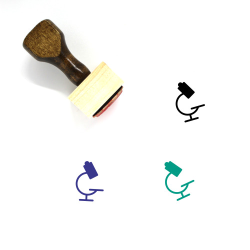 Microscope Wooden Rubber Stamp No. 98