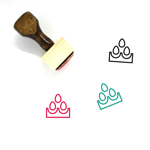 Eggs Wooden Rubber Stamp No. 136