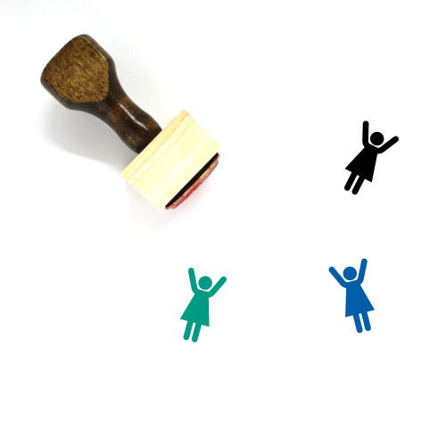 Arms Up Wooden Rubber Stamp No. 2