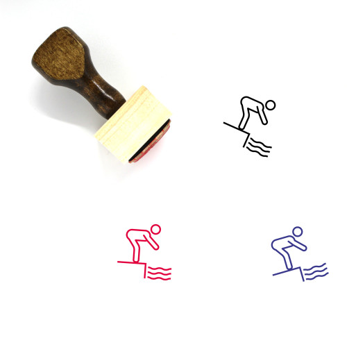 Diving Wooden Rubber Stamp No. 48