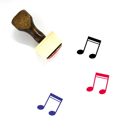 Music Notes Wooden Rubber Stamp No. 77