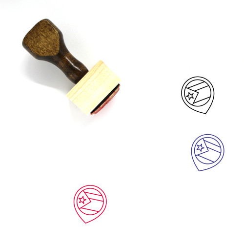 Flag Of Cuba Wooden Rubber Stamp No. 9