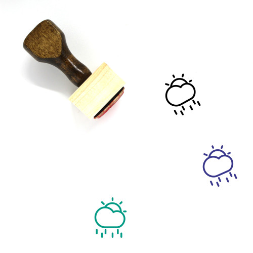 Partly Rainy Wooden Rubber Stamp No. 12