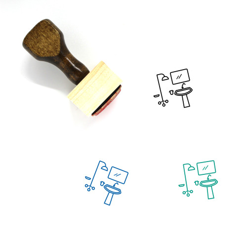 Washroom Wooden Rubber Stamp No. 3