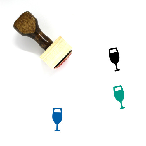 Champagne Glass Wooden Rubber Stamp No. 42