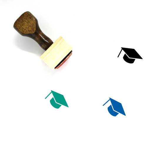 Graduate Hat Wooden Rubber Stamp No. 11