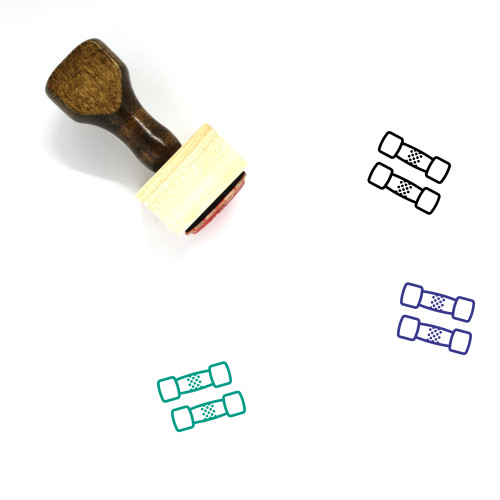 Dumbbell Wooden Rubber Stamp No. 60