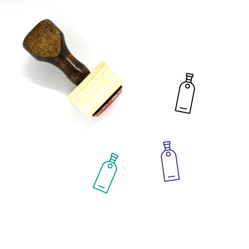 Liquor Bottle Wooden Rubber Stamp No. 32