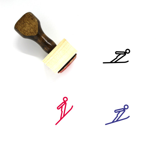 Ski Jumping Wooden Rubber Stamp No. 2