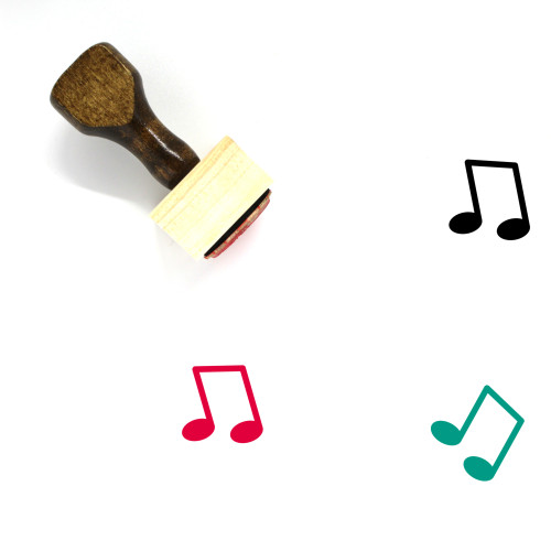 Music Note Wooden Rubber Stamp No. 87
