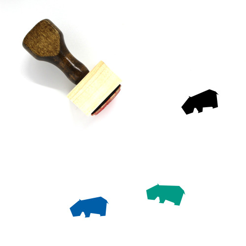 Hippopotamus Wooden Rubber Stamp No. 10