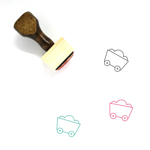 Mining Cart Wooden Rubber Stamp No. 8