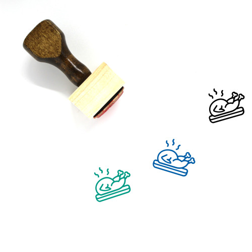 Roasted Turkey Wooden Rubber Stamp No. 14