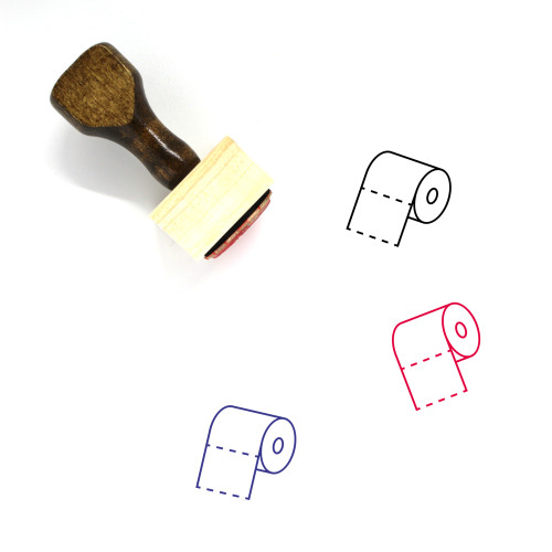 Toilet Paper Wooden Rubber Stamp No. 48