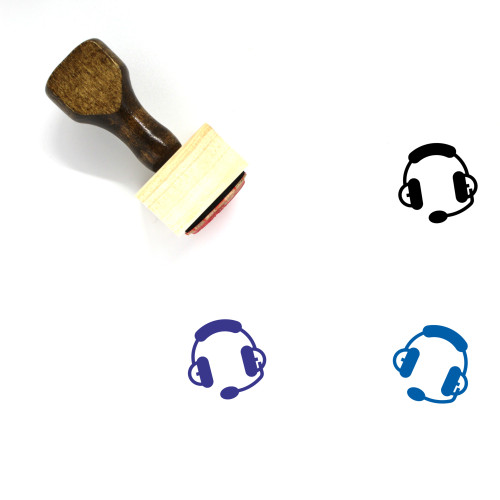 Headset Wooden Rubber Stamp No. 52