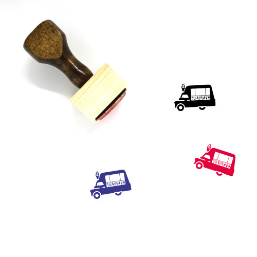 Ice Cream Truck Wooden Rubber Stamp No. 19