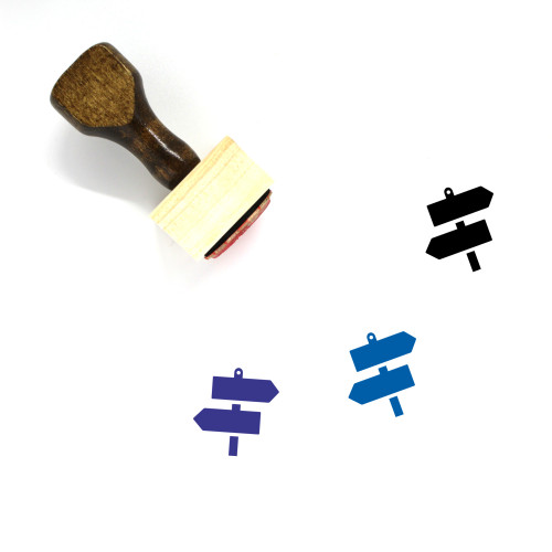 Direction Signs Wooden Rubber Stamp No. 2