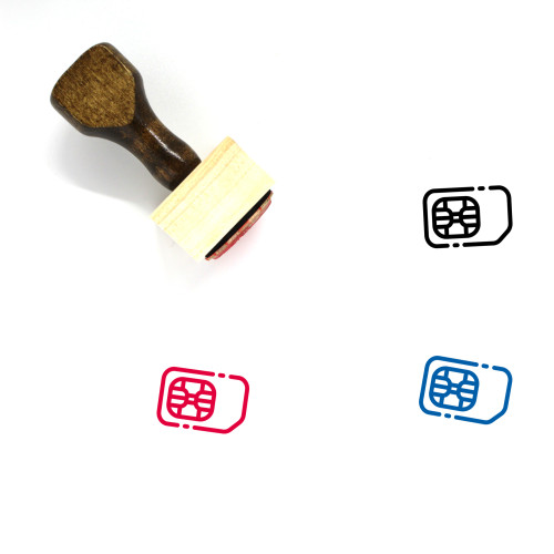 SIM Card Wooden Rubber Stamp No. 54
