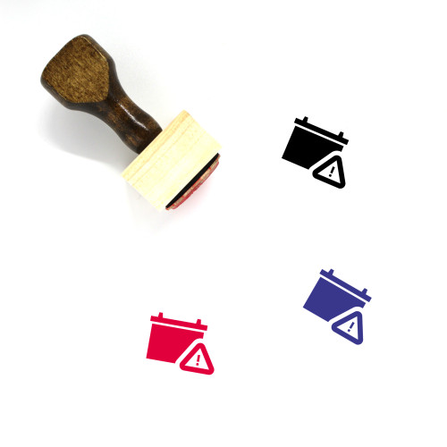 Battery Warning Wooden Rubber Stamp No. 1