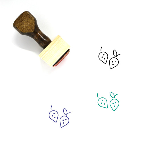 Strawberries Wooden Rubber Stamp No. 18