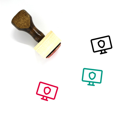 Secure Monitor Wooden Rubber Stamp No. 2