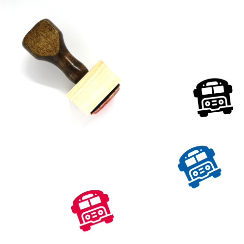 School Bus Wooden Rubber Stamp No. 46