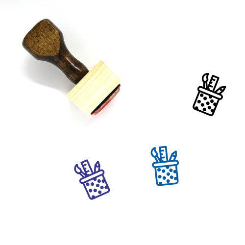 Pencil Cup Wooden Rubber Stamp No. 46