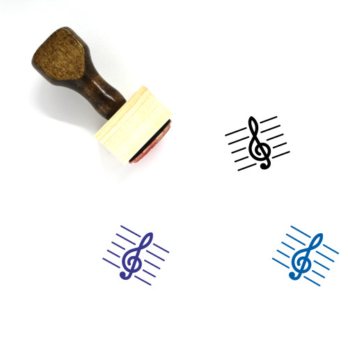 Treble Clef Wooden Rubber Stamp No. 13