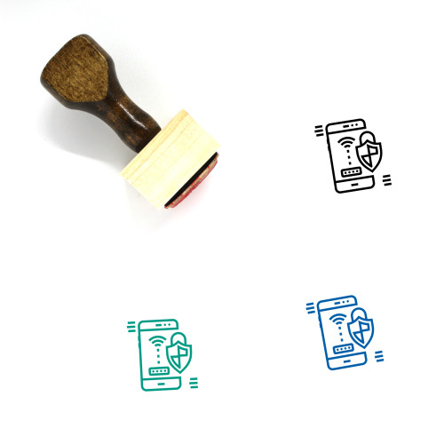 Mobile Antivirus Wooden Rubber Stamp No. 5