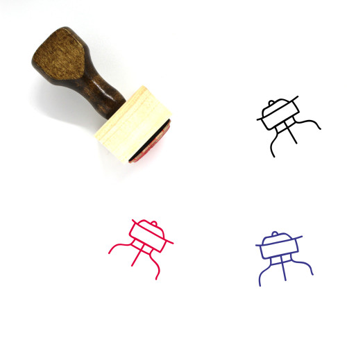 Grill Wooden Rubber Stamp No. 64