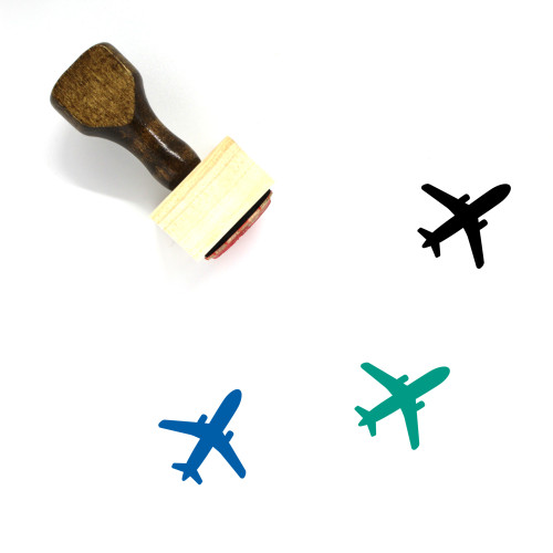 Airplane Wooden Rubber Stamp No. 364