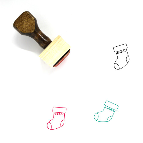Christmas Stocking Wooden Rubber Stamp No. 29