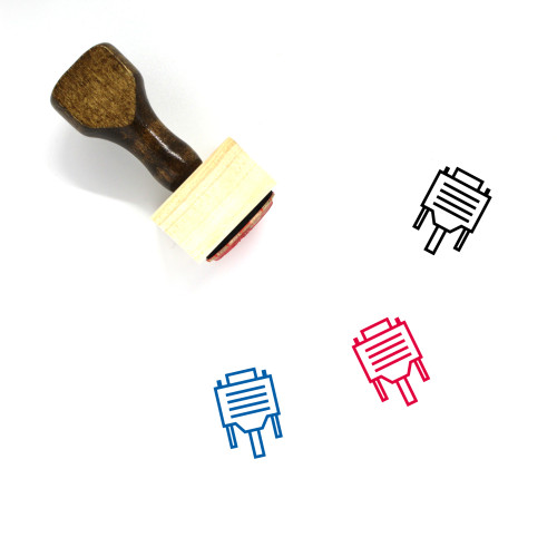 VGA Cable Wooden Rubber Stamp No. 12