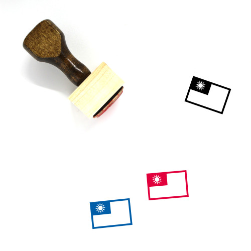Taiwan Flag Wooden Rubber Stamp No. 8