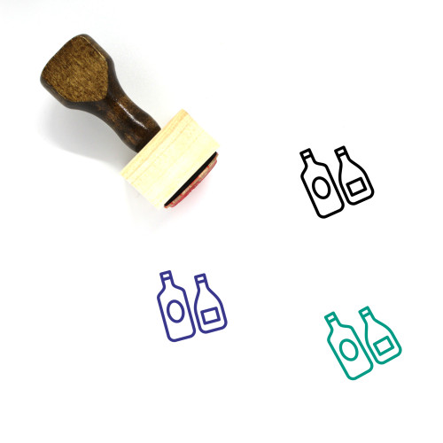 Wine Bottles Wooden Rubber Stamp No. 40