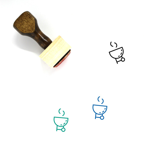 Barbecue Wooden Rubber Stamp No. 54