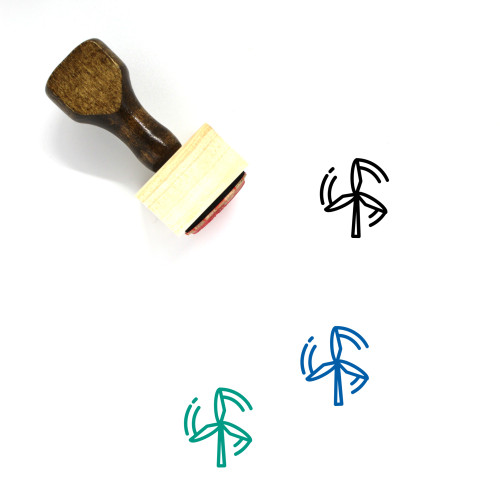 Wind Power Wooden Rubber Stamp No. 34