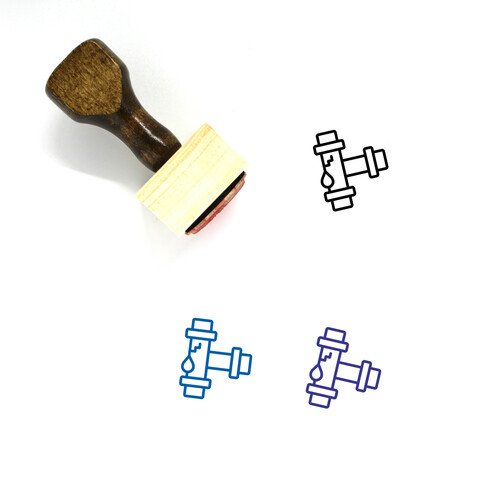 Leaky Pipe Wooden Rubber Stamp No. 17