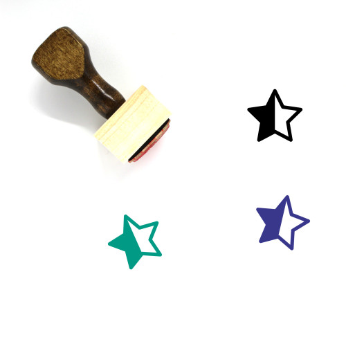 Half Star Wooden Rubber Stamp No. 4