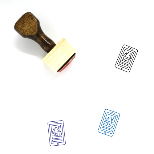 Mobile Interface Wooden Rubber Stamp No. 25
