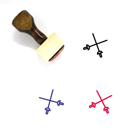 Fencing Wooden Rubber Stamp No. 56