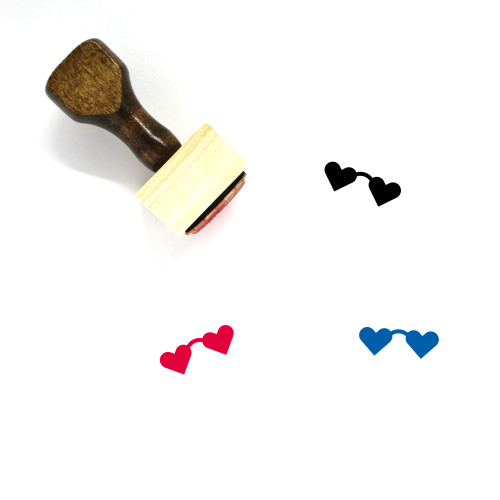 Heart Glasses Wooden Rubber Stamp No. 25
