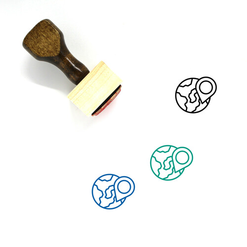 Globe Wooden Rubber Stamp No. 1358