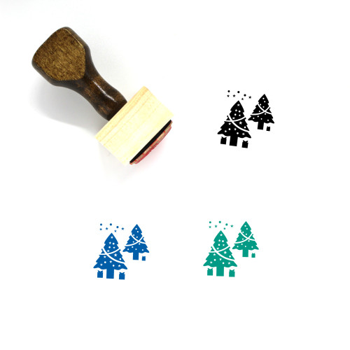 Christmas Trees Wooden Rubber Stamp No. 19