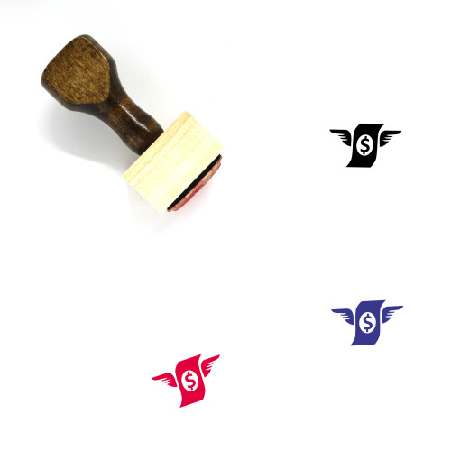 Flying Money Wooden Rubber Stamp No. 1